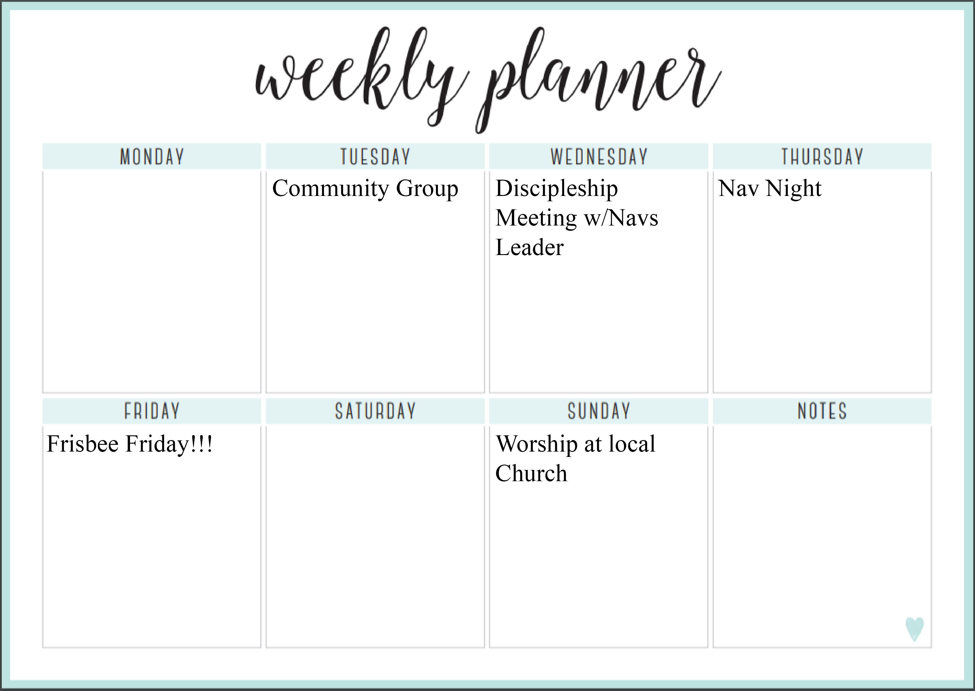 week at a glance (tnr font)